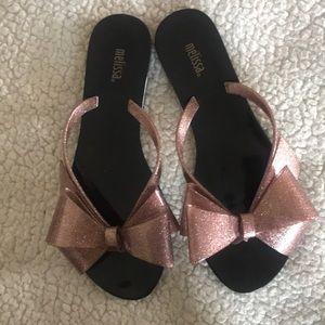 Melissa Glitter Bow Thong Sandals